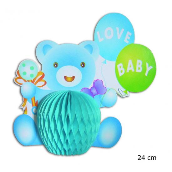 Baby blauw beertje tafelversiering