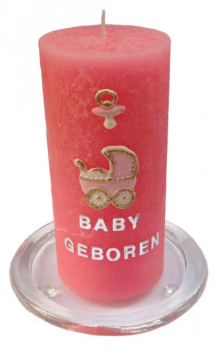 Baby meisje geboorte kaars DIY set 15 cm