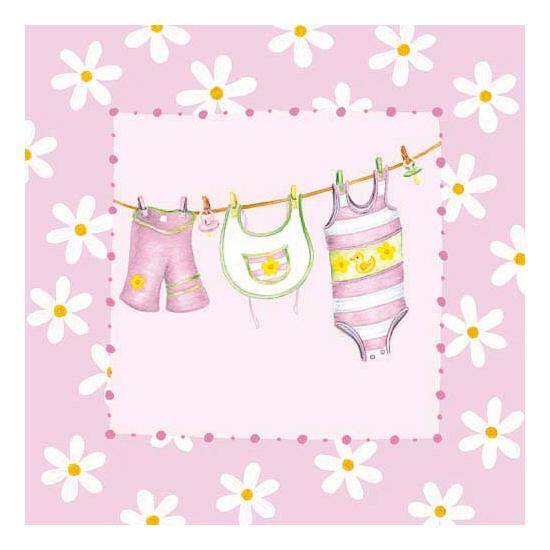 Babyroze servetten met kleding 20 stuks