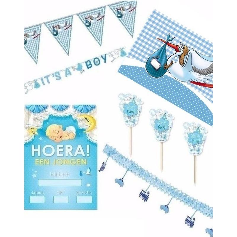 Blauw versiering pakket geboorte jongen