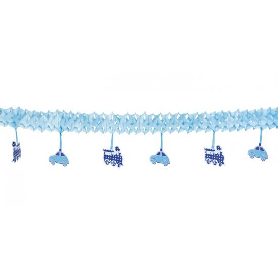 Blauwe geboorte slingers van papier