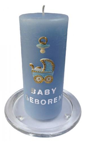 Blauwe geboortekaars met figuren zelf maken 15 cm