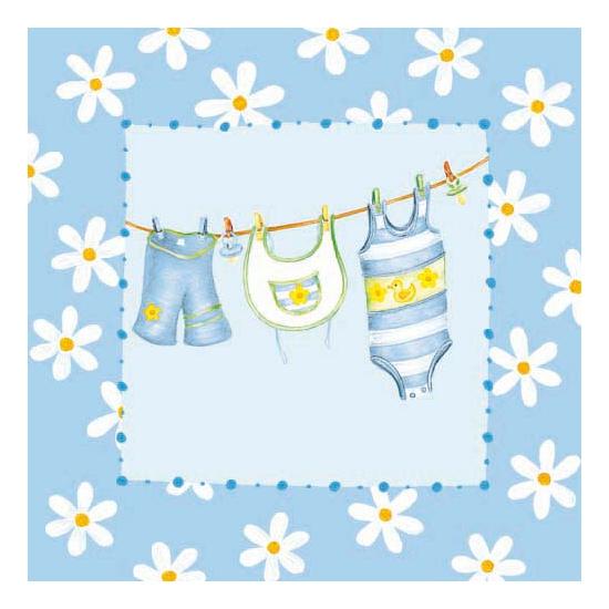 Blauwe servetten met babykleren 20x