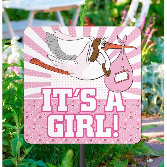 Geboorte decoratie tuinbord meisje