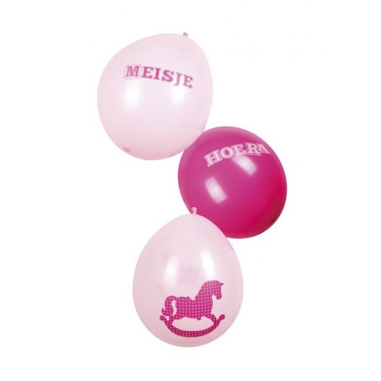 Roze geboorte ballonnen meisje zes stuks