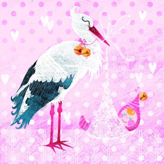 Roze geboorte servetten ooievaar 20 stuks