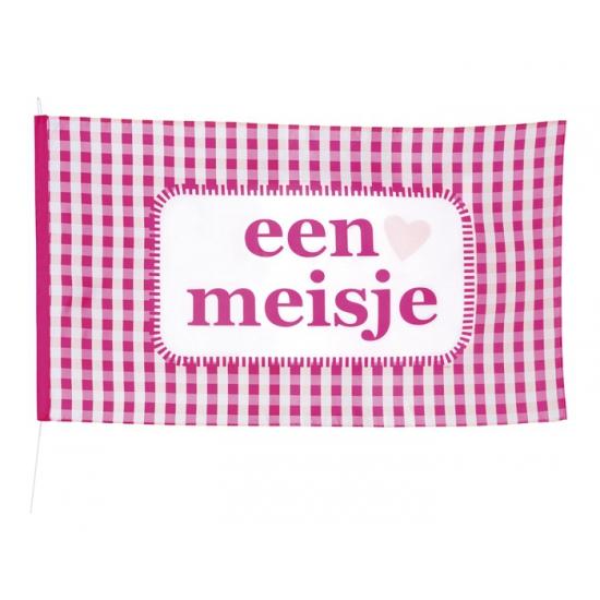 Roze geboorte vlag meisje 90 x 150 cm