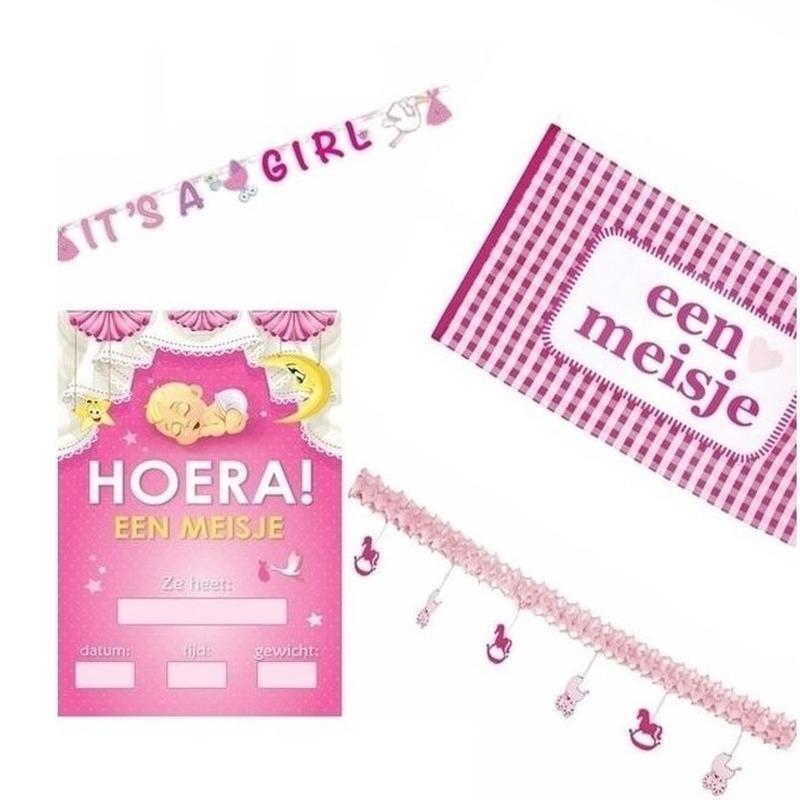 Roze versiering pakket geboorte meisje