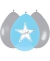 Ballonnen ster geboorte jongen 6 stuks
