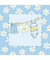 Blauwe servetten met babykleertjes 20 stuks