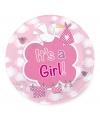 Gebaksbordjes geboorte meisje 8 stuks