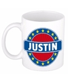 Justin naam koffie mok beker 300 ml