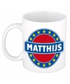 Matthijs naam koffie mok beker 300 ml